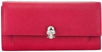 Alexander McQueen Skull-Clasp Leather Flap Wallet on Chain