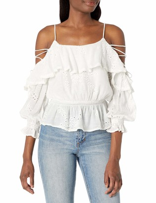 ASTR the Label Women's Kennedy Lace Up Cold Shoulder Long Sleeve Blouson Top White