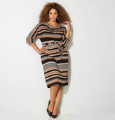 Avenue Striped Drapeneck Dress