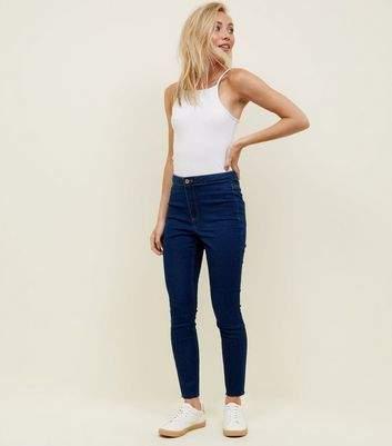 New Look Petite Blue Rinse Wash High Waist Super Skinny Jeans
