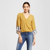 Xhilaration Women's Bell-Sleeve Surplice Top Juniors') Gold