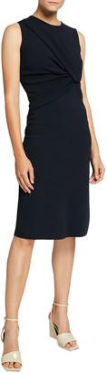 Stella McCartney Compact Knit Drape-Front Sheath Dress
