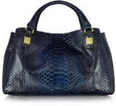 Ghibli Midnight Blue Phyton Leather Satchel Bag