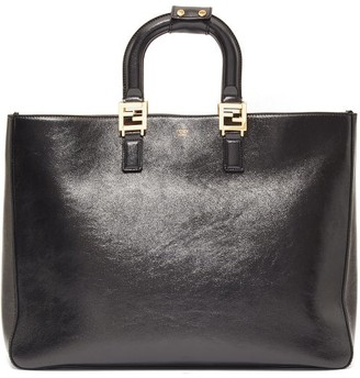 Fendi Ff Large Grained-leather Tote Bag - Black