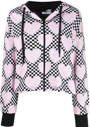 Love Moschino Check Heart Print Zipped Hoodie