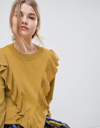 Selected Agnes Ruffle Front Sweater
