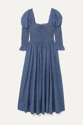 DÔEN Bijou Smocked Floral-print Cotton-blend Dress - Blue