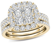 Zales 2 CT. T.W. Composite Diamond Cushion Frame Bridal Set in 14K Gold