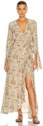Natalie Martin Danika Long Sleeve Dress in Wing Print Paros Tan | FWRD