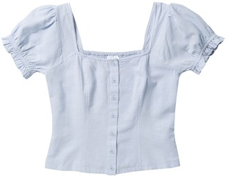 Abound Square Neck Puff Sleeve Smocked Crop Top