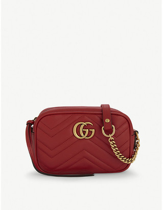 Gucci Women's Red GG Marmont Mini Quilted Leather Cross-Body Bag