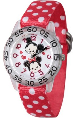 Disney Tsum Tsum, Mickey Mouse and Minne Mouse Girls' Clear Plastic Time Teacher Watch, Red Stretchy Nylon Strap with Printed White Polka Dot