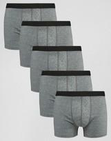 Asos Trunks In Gray Marl 5 Pack