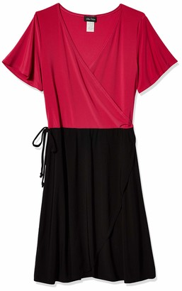 Star Vixen Women's Short Sleeve 2-Tone Faux Wrap Ballerina Dress with Tulip Skirt