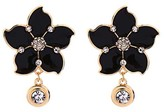 Ella & Elly Women's Earrings Black - Black & Goldtone Floral Stud Earrings