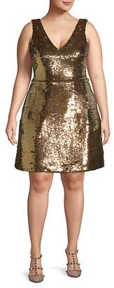 Monique Lhuillier Plus Sequin Cocktail Dress