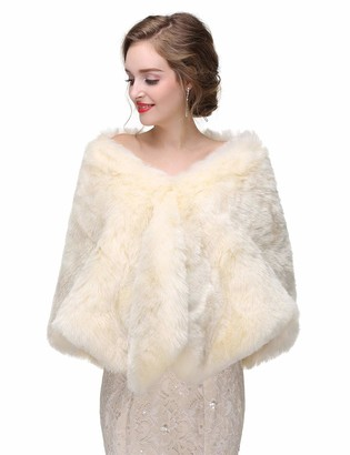 Anglacesmade Bridal Faux Fur Wrap Wedding Fur Stole with Brooch Evening Party Warm Shrug Cape (Ivory)