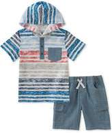 Kids Headquarters 2-Pc. Hooded Cotton Shirt & Chambray Shorts Set, Toddler Boys