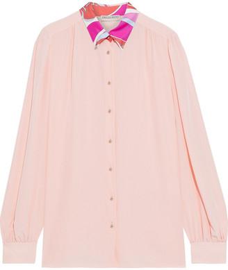 Emilio Pucci Printed Satin Twill-trimmed Silk Crepe De Chine Shirt