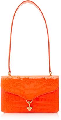 Edie Parker Ballbuster Croc Embossed Leather Bag