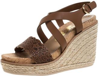 Salvatore Ferragamo Brown Lazer Cut Leather Gioela Wedge Espadrille Platform Ankle Strap Sandals Size 37