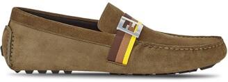 Fendi FF-motif stripe-detail loafers