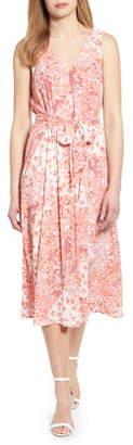 Bobeau Riley V-Neck Pleat Dress