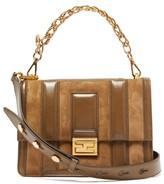 Fendi Kan U Medium Leather And Suede Cross-body Bag - Womens - Tan