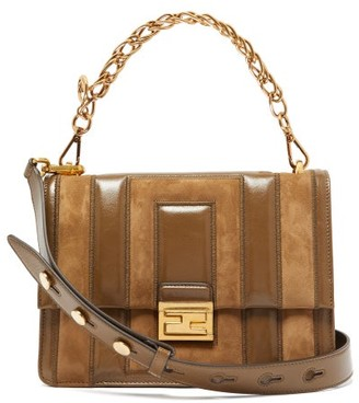 Fendi Kan U Medium Leather And Suede Cross-body Bag - Womens - Tan