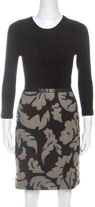 Burberry Black Rib Knit And Floral Jacquard Midi Dress M
