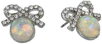 Betsey Johnson Bow Pearl Stud Earrings