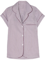 Bodas Verbier Striped Swiss Cotton Pajama Top - Merlot