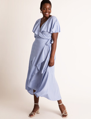 ELOQUII Flare Sleeve Wrap Dress