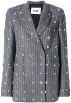 MSGM embellished pinstripe suit jacket