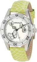 Invicta Women's 12516 Pro-Diver Silver Dial Crystal Accented Butterflies Light Green Leather Watch