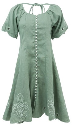 Innika Choo Madonna Phulman Scalloped Linen Dress - Green