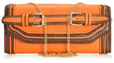 Melie Bianco Darla Clutch with belt buckles and chain