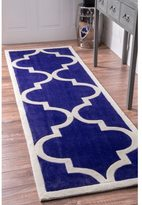 nuLoom Handmade Luna Moroccan Trellis Blue Rug (2'8 x 10' Runner)