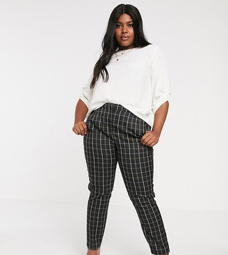 Vero Moda Curve checked tapered pants