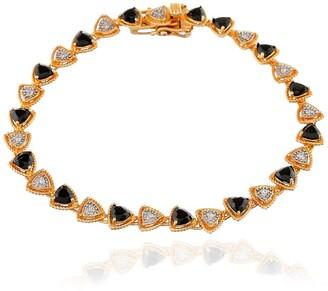 Forever Creations Usa Inc. 14K Gold Plated Sterling Silver Black Spinel & Natural Zircon Bracelet