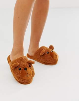 Asos Design DESIGN Zachary teddy slippers in tan