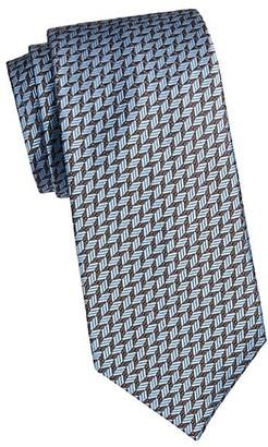 Brioni Geo Feather Silk Tie