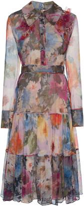 Marchesa Mixed Print Silk Shirt Dress