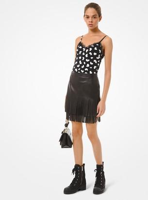 MICHAEL Michael Kors Fringed Leather Skirt
