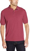 Haggar Men's Short Sleeve Mini-Grid Polo with Pocket