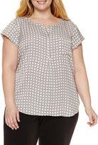 Liz Claiborne Cap Sleeve Popover Top-Plus