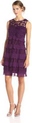 SL Fashions Women's Lace Crochet Top Tiered Skirt Dress