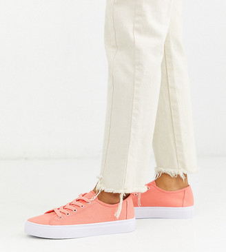 ASOS DESIGN Wide Fit Dusty lace up sneakers in bright pink