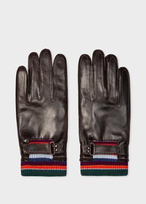 Paul Smith Men's Dark Brown Leather Gloves With 'Artist Stripe' Cuff Detail