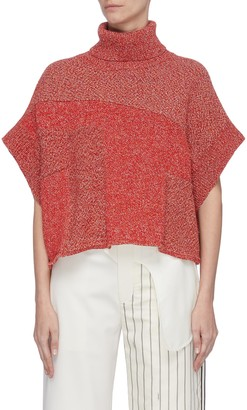 Cédric Charlier Open sleeve panelled knit turtleneck top